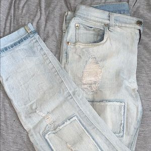 7 for all mankind light wash,distressed jeans.